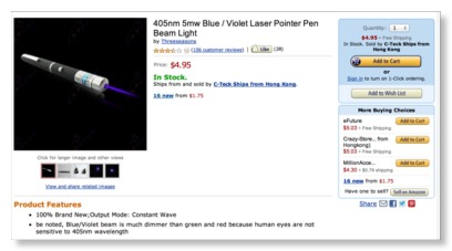 Laser Pointer Safety Illegal Laser Pointers Being Sold By Amazon Com