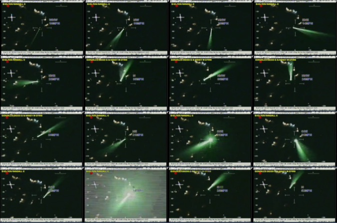 Sequence of video frames from helicopter hit