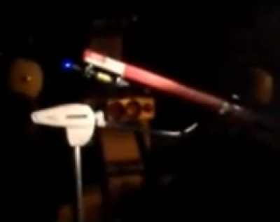 Laser under telescope for ISS space station test